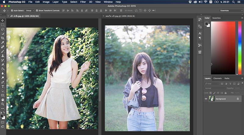 วิธีทำงาน 2 หน้าต่างพร้อมกันใน Photoshop