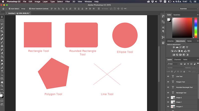 วิธีสร้างรูปร่าง (Shape) ใน Photoshop